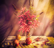 Fall Autumn autumnal bouquet Still Life apples sprigs Royalty Free Stock Photography