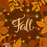Fall autumn border frame background with leaves and light bulbs. Garland vector illustration