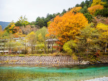 Fall Autumn color of Japan Alps area Royalty Free Stock Photo