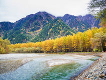 Fall Autumn color of Japan Alps area Royalty Free Stock Image