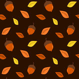 Fall autumn colorful background with acorns seamless pattern illustration Royalty Free Stock Photo