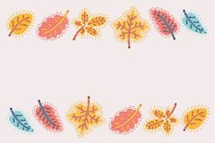 Fall Autumn Colorful Leaves Background. Vector cartoon illustration of Frame Fall Autumn Colorful Leaves Background royalty free illustration