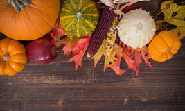 Fall / Autumn deocorations. Thanksgiving theme Stock Photos