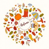Fall autumn doodle icons round vector frame Stock Images