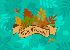 Fall autumn forest leaf festival background with vintage badge on foliage texture. Fall autumn forest leaf festival background with vintage badge  on blue Royalty Free Stock Photography