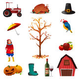 Fall or Autumn icons Stock Images