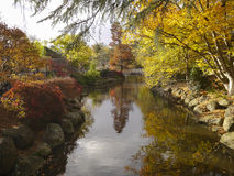 Fall / Autumn Landscape. River, with trees, and yellow, orange, red fall colored trees and plants. Melbourne, Australia stock image