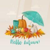 Fall or autumn leaves and apple, mushroom on it Stock Photo