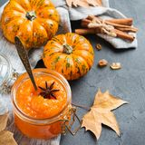 Fall autumn pumpkin jam confiture with spices royalty free stock photography