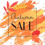 Fall autumn sale banner with paint and leaves in thin black frame vector illustration. Fall autumn sale banner with paint and leaves in thin black frame vector stock illustration