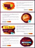 Fall Autumn Sale 2017 Best Offer Special Discount. Fall big sale 2017 best offer special price discounts on autumn collection web banners with buttons read more Stock Photo