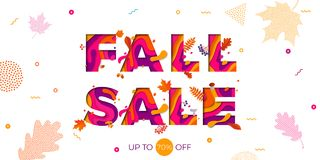 Fall autumn sale vector maple leaf promo discount shop banner poster Stock Image