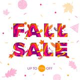 Fall autumn sale vector maple leaf promo discount shop banner poster Royalty Free Stock Image