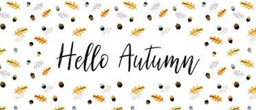Fall, Autumn season vector illustration, banner, background. Hello autumn banner royalty free illustration