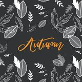 Fall, Autumn season vector illustration with doodle fall background. Design for poster, card, invitation, placard. Brochure, flyer vector illustration