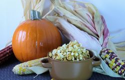 Fall and autumn with sugar pumpkin, indian corn and caramel corn royalty free stock images