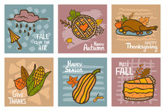 Fall autumn thanksgiving seasonal abstract hand drawn handwritten colorful doodle greeting cards Stock Photo