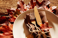 Fall or autumn themed place setting Royalty Free Stock Photography