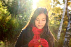 Fall / autumn woman daydreaming Stock Photo