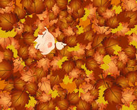 Fall baby. Illustration of a baby in leaves, fall background royalty free illustration