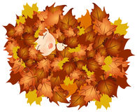 Fall baby. Illustration of a baby in leaves, fall background stock illustration