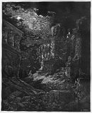 The Fall of Babylon. Picture from The Holy Scriptures, Old and New Testaments books collection published in 1885, Stuttgart-Germany. Drawings by Gustave Dore royalty free illustration