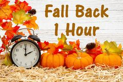Free Fall Back 1 Hour Time Change Message With A Retro Alarm Clock With Pumpkins And Fall Leaves Royalty Free Stock Photo - 162499455