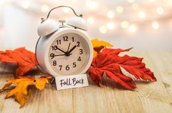 Fall Back Daylight Saving Time concept on wooden board. Fall Back Daylight Saving Time concept with white clock and autumn leaves, soft bokeh background on stock image