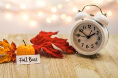 Fall Back Daylight Saving Time concept on wooden board. Fall Back Daylight Saving Time concept with white clock and autumn leaves, soft bokeh background on stock images