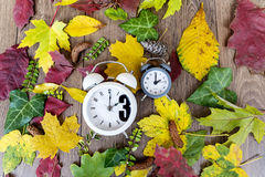Fall Back Time Change.Two clocks on autumn leaves background Stock Photos