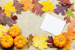 Fall background. Fall-themed background of burlap, dry leaves and pumpkins Stock Photos