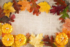 Fall background. Fall-themed background of burlap, dry leaves and pumpkins Royalty Free Stock Photos