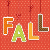 FALL background as retro fabric letters on strings in autumn colors Stock Photography