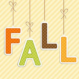 FALL background as retro fabric letters on strings in autumn colors Stock Images