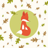 Fall Background Design with Cute Fox Royalty Free Stock Photos