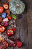 Fall background with pumpkin, apples and leaves Royalty Free Stock Images