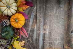 Fall background with pumpkins. Fall background of autumn pumpkins and leaves decoration on rustic wood with copy space Stock Images