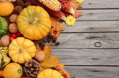 Fall background with pumpkins. Top view, copy space Stock Photo