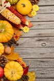 Fall background with pumpkins. Top view, copy space Royalty Free Stock Photos
