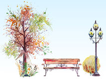 Fall background with tree and lantern. Hand drawn watercolor fall background with park, outdoor elements, orange,green tree,shrub, bench and lantern, on the blue Stock Photography