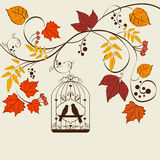 Fall background. Vector autumn background design with bird cage Royalty Free Stock Images