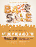 Fall Bake Sale Flyer. Hand drawn type for a Fall Bake Sale in the shape of delicious and colorful cookies on a flyer, brochure, poster template layout stock illustration