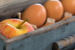 Fall Baking with Apples. A rustic fall scene with apple and brown eggs in wooden box, close up royalty free stock image