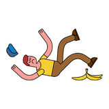 Fall on banana. Slip on banana peel. guy flopped. Man fell Stock Image