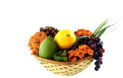 Fall Basket with Fruit and Flowers Stock Photography