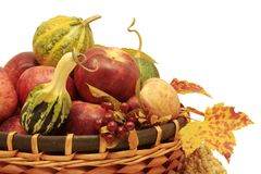 Fall basket isolated Royalty Free Stock Photo