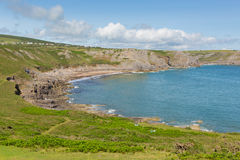 Fall Bay The Gower peninsula South Wales UK near to Rhossili beach and Mewslade Bay Stock Photography