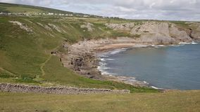 Fall Bay The Gower peninsula South Wales UK near to Rhossili beach and Mewslade Bay stock video
