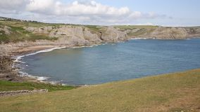 Fall Bay The Gower peninsula South Wales UK near to Rhossili beach and Mewslade Bay PAN view stock video