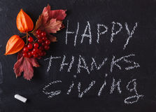 Fall berries on black background with word happy thanksgiving Stock Images